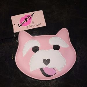Betsey Johnson Pink dog coin purse